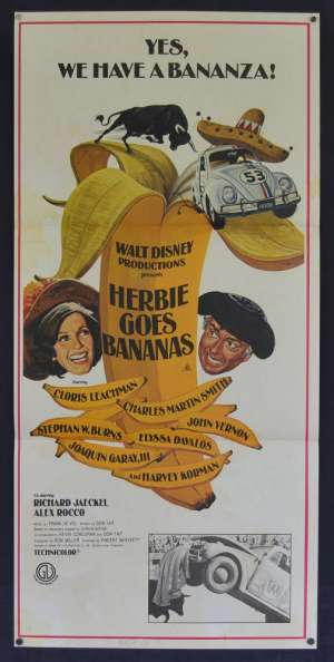 Herbie Goes Bananas Poster Original Daybill 1980 Disney Cloris Leachman Love Bug
