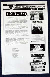 Ironweed 1987 Movie Press Sheet Jack Nicholson Meryl Streep
