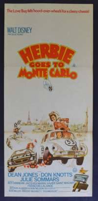 Herbie Goes To Monte Carlo Movie Poster Original Daybill Dean Jones Love Bug