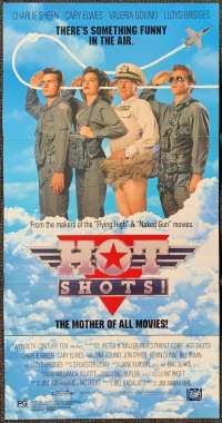 Hot Shots 1991 Daybill movie poster Charlie Sheen Cary Elwes Top Gun
