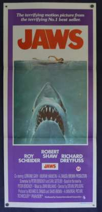 Jaws Poster Original Daybill 1975 First Release Robert Shaw Roy Scheider
