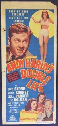 Andy Hardy's Double Life 1942 Mickey Rooney Ester Williams RARE Daybill movie poster