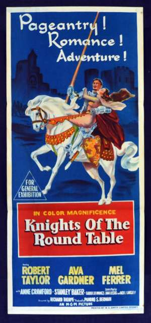 Knights Of the Round Table 1953 Daybill movie poster Robert Taylor King Arthur