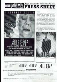 Alien 3 Press Sheet Original 1992 Sigourney Weaver Charles Dance