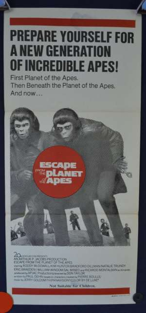 Escape From The Planet Of The Apes Daybill Movie poster Roddy McDowall