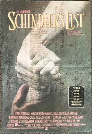 Schindler's List Poster Original Mini Daybill 1993 Academy Awards Art Liam Neeson