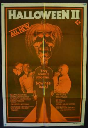 Halloween 2 Poster Jamie Lee Curtis John Carpenter Australian One Sheet