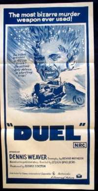Duel movie poster Dennis Weaver Australian Daybill