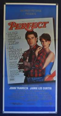 Perfect Daybill Poster Original 1985 John Travolta Jamie Lee Curtis Heath Clubs