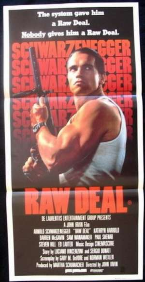 Raw Deal Daybill movie poster Arnold Schwarzenegger
