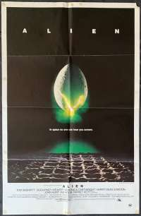 Alien Poster One Sheet Original 1979 Horror Sigourney Weaver Ridley Scott