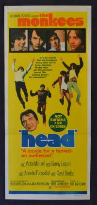 Head Movie Poster Original Daybill 1968 The Monkees Rock Music Victor Mature