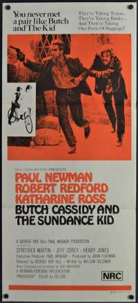 Butch Cassidy And The Sundance Kid Poster Original Daybill 1970's RI Paul Newman