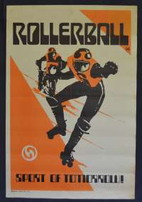 Rollerball Movie Poster Original 1975 RARE Faux Style Skating Art James Cann