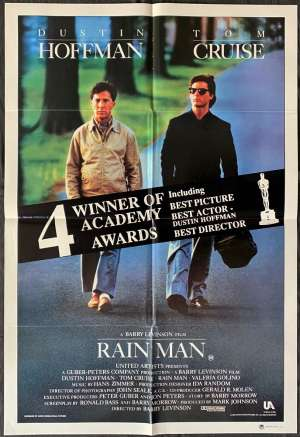Rain Man 1988 One Sheet Movie Poster Tom Cruise Dustin Hoffman Barry Levinson