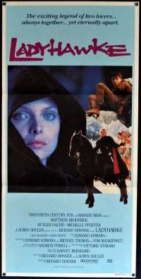 Ladyhawke Movie Poster Daybill Michelle Pfeiffer Rutger Hauer