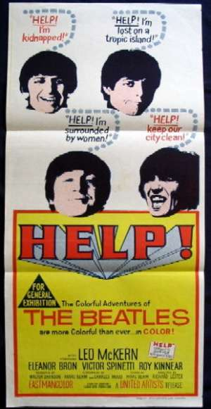 Help The Beatles John Lennon Paul McCartney movie poster Daybill