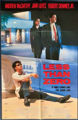 Less Than Zero 1987 movie poster Robert Downy Jnr One Sheet