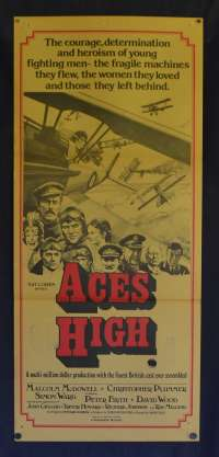 Aces High Poster Original Daybill 1976 Malcolm McDowell Peter Firth Biplanes