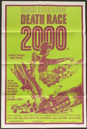 Death Race 2000 Poster One Sheet Original 1975 Sylvester Stallone David Carradine