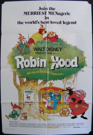 Robin Hood Poster Disney Original One Sheet 1983 Re-Issue Animation