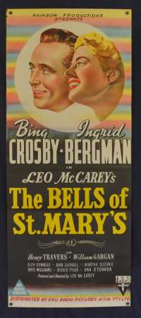 The Bells Of St.Mary's 1945 movie poster Daybill Bing Crosby Ingrid Bergman RKO
