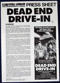 Dead End Drive-In 1986 Movie Press Sheet Horror Brian Trenchard Smith