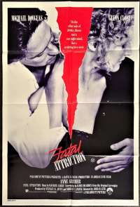 Fatal Attraction 1987 One Sheet Movie poster Michael Douglas Glenn Close