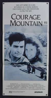 Courage Mountain Poster Original Daybill 1990 Charlie Sheen Leslie Caron Heidi