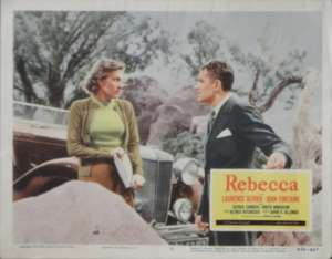 Rebecca 1940 Lobby Card 11x14 1956 Re-Issue Laurence Olivier Joan Fontaine