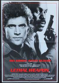Lethal Weapon Movie Poster Original One Sheet 1987 Mel Gibson Danny Glover