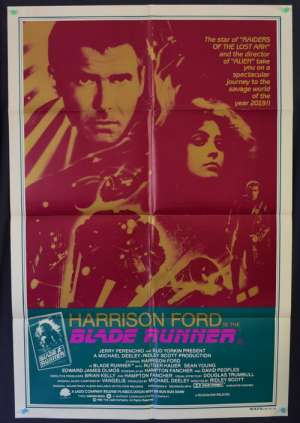 Blade Runner 1982 One Sheet Movie Poster Harrison Ford Ridley Scott