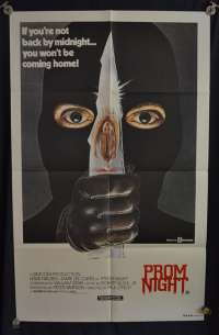 Prom Night Movie Poster Original One Sheet 1980 Jamie Lee Curtis Slasher