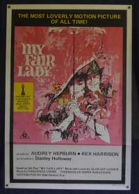 My Fair Lady Movie Poster Original One Sheet 1970's RI Audrey Hepburn Rex Harrison