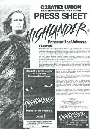 Highlander 1986 Movie Press Sheet Christopher Lambert Sean Connery Queen