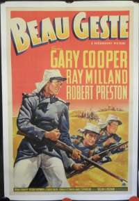 Beau Geste 1939 movie poster Gary Cooper USA One Sheet Linen