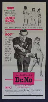 Dr. No 1962 Daybill movie poster 1970's Re-Issue Sean Connery James Bond