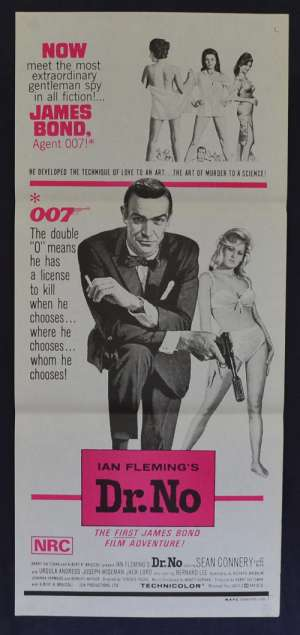 Dr. No Daybill Poster Original 1970's Re-Issue Sean Connery James Bond