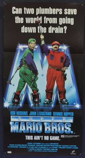Super Mario Bros 1993 Daybill Movie Poster Bob Hoskins Dennis Hopper