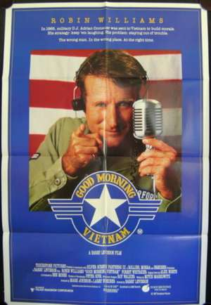 Good Morning Vietnam poster One Sheet Robin Williams Bruno Kirby Barry Levinson