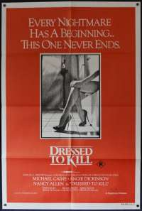 Dressed To Kill Poster One Sheet Michael Caine Brian De Palma Nancy Allen