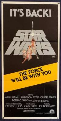 Star Wars Movie Poster Original Daybill 1981 Re-Issue It's Back 1981 Tom Jung Art