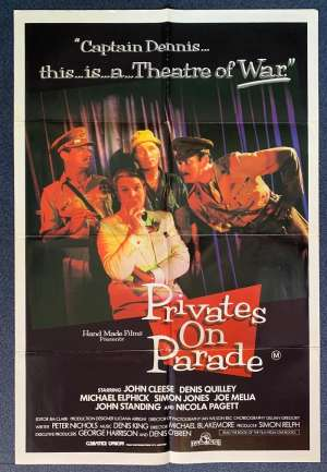 Privates On Parade Poster Original One Sheet 1982 John Cleese George Harrison