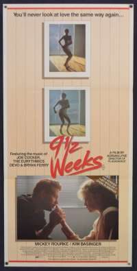 9 1/2 Weeks Movie Poster Original 1986 Daybill Mickey Rourke Sexy Kim Basinger