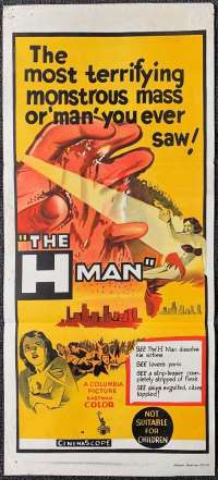 The H Man 1958 movie poster Daybill TOHO science fiction