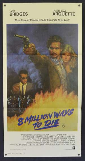8 Million Ways To Die 1986 Daybill movie poster RARE Jeff Bridges Rosanna Arquette Andy Garcia