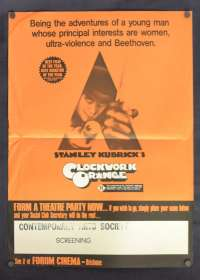 Clockwork Orange Poster Daybill Mini Original 1971 Malcolm McDowell Stanley Kubrick