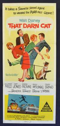 That Darn Cat 1965 Daybill Movie Poster Hayley Mills Dean Jones Stone Litho Art