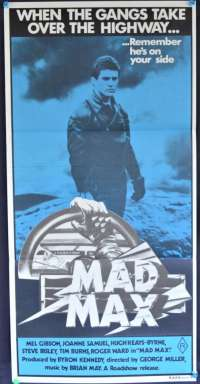 Mad Max 1979 Daybill movie poster Mel Gibson