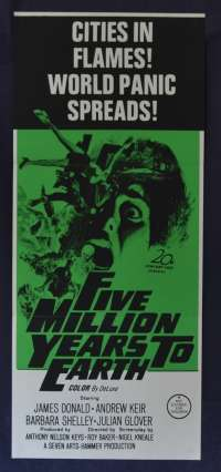 Five Million Years To Earth Poster Original Daybill 1967 Hammer Horror Andrew Keir